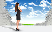 Businesswoman and ruined brick wall with nature landscape — Stockfoto