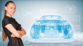 Businesswoman and glow wire-frame car — Stock Photo