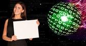 空の紙を押しながら数字の光る実業家 — ストック写真