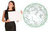 Businesswoman hold empty paper and wire frame sphere — Stock Photo