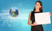 Beautiful businesswoman holding paper holder. Earth with figures and graphs — Stock Photo