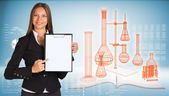 Businesswoman holding paper holde. Wire-frame flasks chemistry lab — Stock Photo