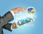 Man hands using tablet pc. Business city on touch screen. Earth near computer — Stock Photo