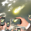 Hands holding smart phones and shoot video as falling meteorite or comet — Stock Photo #57179491