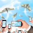 Hands holding smart phones and shoot video as flying paper plane of dollars — Stock Photo #57180459