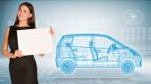Businesswoman hold paper sheet. Wire-frame family car on transparent plane — Stok fotoğraf