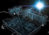 Wire-frame buildings with light on dark background — Stock Photo