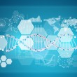 Model of DNA with hexagons, graphs and world map — Stock Photo #58508147