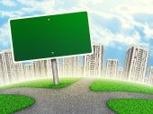 Billboard against line of high-rise buildings, curved Earth — Stock Photo