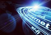 Earth, continents, light beams, digits and words like internet, web, etc. on dark background — Stock Photo
