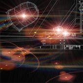 Wire-frame drawing of industrial platform with flares shining — Stock Photo