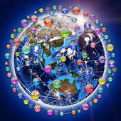 Earth, surrounded by sphere, composed of icons — Stock Photo