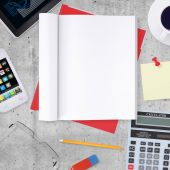 Blank note pad with office and business work elements around — Stock Photo