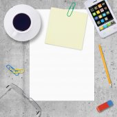Blank paper with office work elements around — Stock Photo