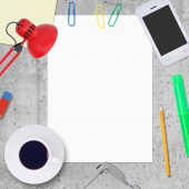 Blank paper sheet with office work elements around — Stock Photo