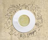 Business strategy infographics option drawn around coffee cup — Stock Photo