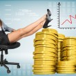 Businesswoman sitting on office chair with golden coins — Stock Photo #63043459