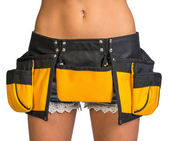 Woman wearing tool belt, close up — Stock Photo
