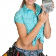 Woman in hard hat and tool belt showing calculator — Stock Photo #64188627