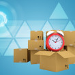 Postal boxes on them alarm clock. Backdrop of earth combines information — Stock Photo #67485871