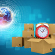 Postal boxes on them alarm clock. Backdrop of earth combines information — Stock Photo #67485957