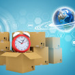 Postal boxes on them alarm clock. Backdrop of earth and hexagon — Stock Photo #67486197