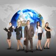 Business women and men in suits, smiling. Against background of globe, world map — Stock Photo #67867703