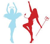 Silhouettes of an angel and demon froze in dance — Stock Photo