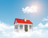 White house with red roof, chimney in clouds. Background sun shines brightly and drizzle — Stock Photo