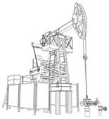 Oil pump jack. Vector rendering of 3d — Vetor de Stock