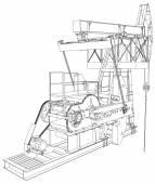 Oil pump jack. Vector rendering of 3d — Stock Vector