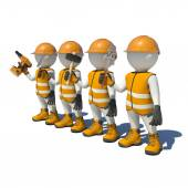 Workteam in special clothes, shoes and helmet holding tools — Stock Photo