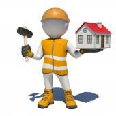 Pracownik w kombinezon gospodarstwa młotek i mały domek. Na białym tle — Zdjęcie stockowe