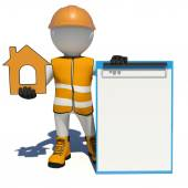 Worker in overalls holding house icon and empty clipboard. Isolated — Stock Photo