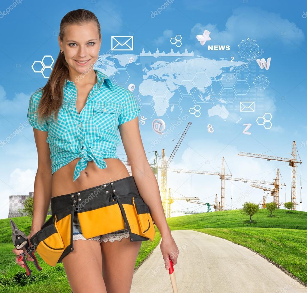 Девушки строительный инструмент фото