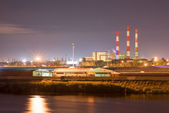 Power plant and river port. — Stock Photo
