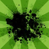 Abstract background is black blotches and green stripes at center — Stock Photo