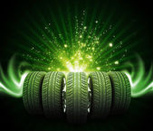 Wedge of new car wheels. Magic lines and stripes — Stock Photo