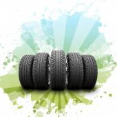 Wedge of new car wheels. Abstract background — Stock Photo