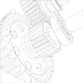 Wire-frame gears with bearings and shafts. Close-up. Vector — Stock Vector