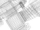 Engrenages de fil de fer avec les arbres. Gros plan. Vector — Vecteur