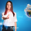 Young woman looking forward at her pointer finger of right hand — Stock Photo #70715847