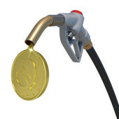 Gold euro coin flowing from fuel nozzle — Stock Photo