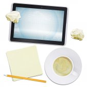 Tablet and coffee with crumpled paper, top view — Stockfoto