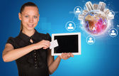 Businesswoman holging tablet and blank card — Stock Photo