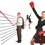 Постер, плакат: Businesswoman in boxing gloves
