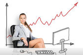 Businesslady sitting half-turned at drawn table — Stock Photo