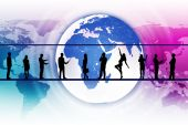 Business people silhouettes with colorful Earth — Stockfoto