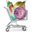 Christmas balls in shopping cart — Stock Photo #77171983