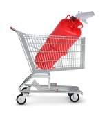 Fire extinguisher in shopping cart — Stock Photo